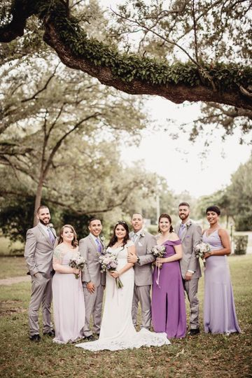 The wedding party in tones of purple