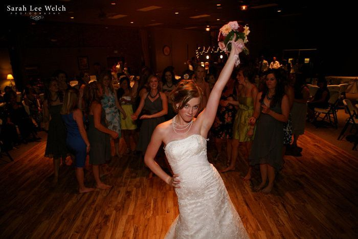Bride about to throw her bouquet