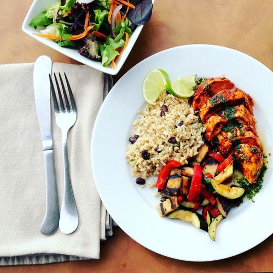 Chimichurri chicken with black beans, brown rice, and grilled mixed vegetables (gf/df)