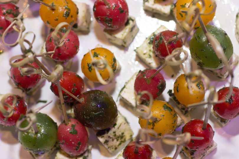 Caprese skewers with heirloom tomatoes, fresh mozzarella, and basil puree (V/GF)