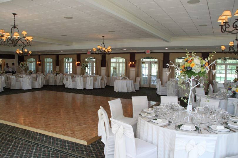 Reception tables and dance floor