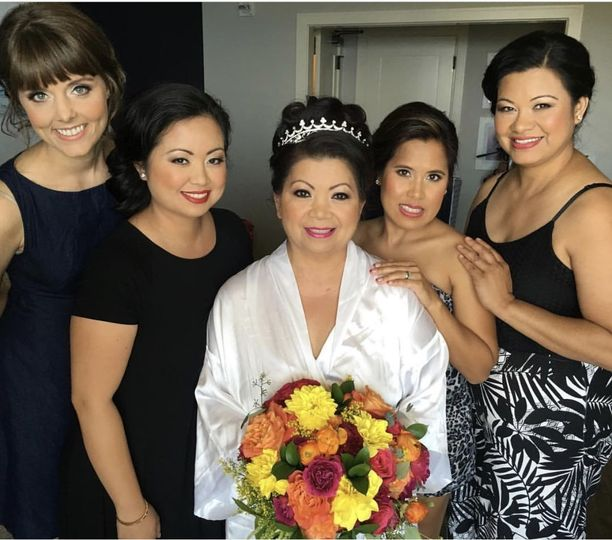 The bride with the wedding attendants