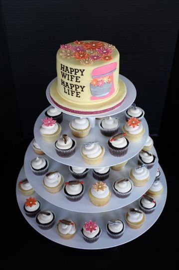 Bridal Shower Cupcakes with Cake Topper