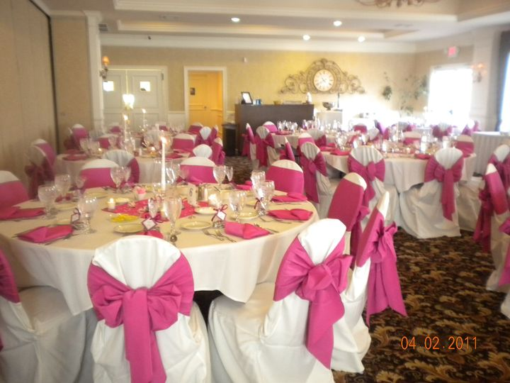 Pink and white-themed table setting
