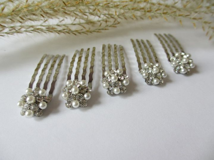 Small Swarovski Crystal and Pearl Hair Buttons