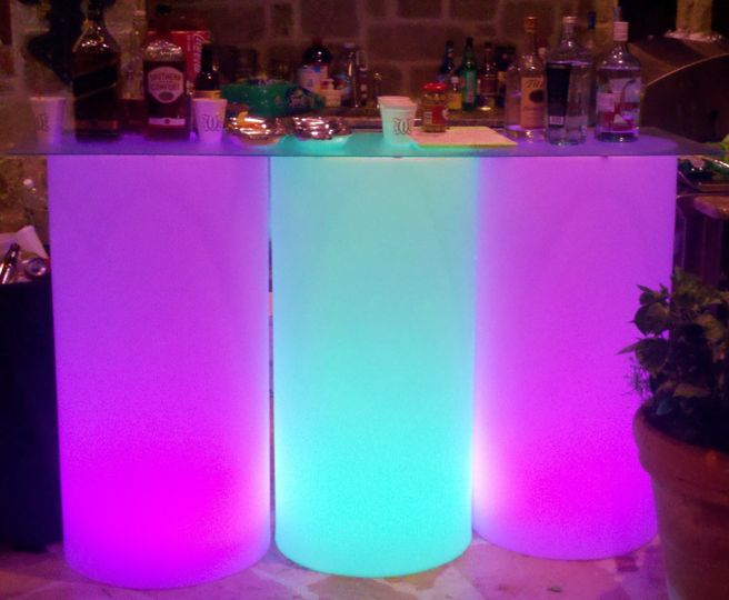 Bar station with lights