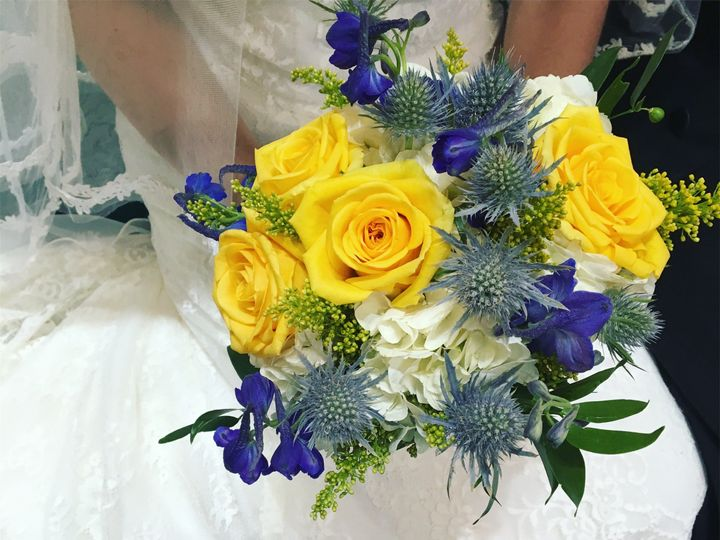 Blue and yellow theme bouquet