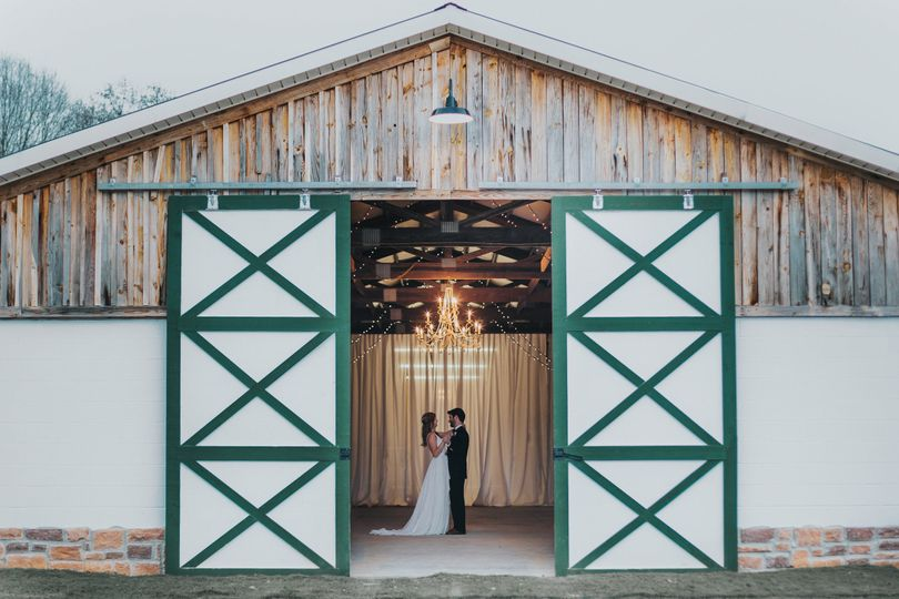 Newlyweds in the event barn