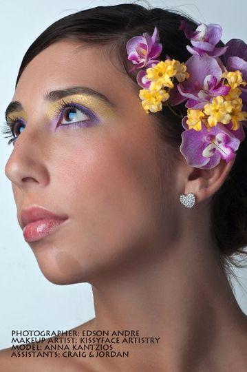 purple, yellow bridal makeup look