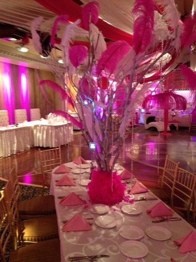 Pink feathers decoration