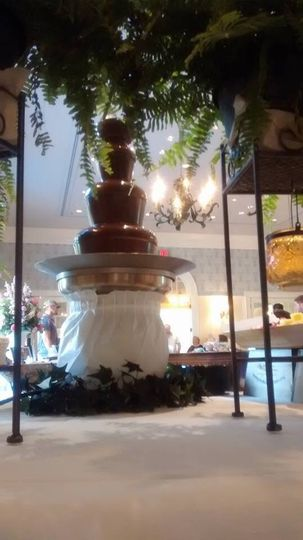 Small dark chocolate fountain