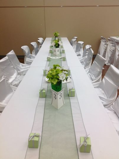 Long white linen table
