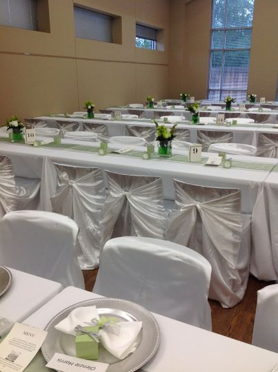 White linens for table and chairs