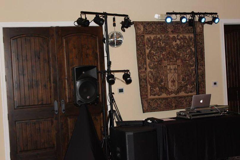 Lights and DJ setup