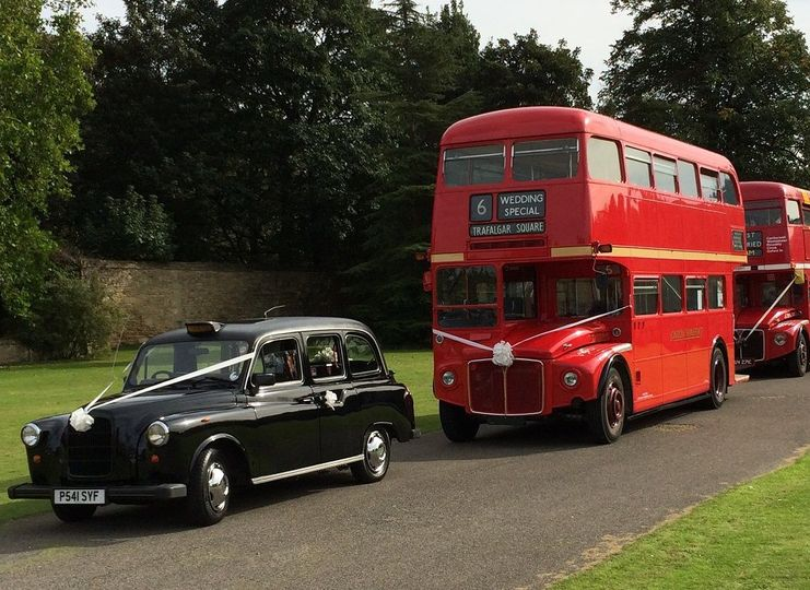 "Classic Fairway Taxi ""Huey"" & London Transport bus for wedding guests"