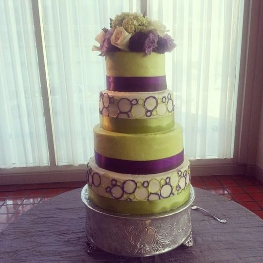 Lime Green and Purple Modern Cake