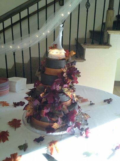Fall wedding cake with Chocolate Buttercream Icing.  At Hidden Lake Winery