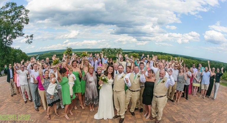 Couple and guests celebrate wedding day