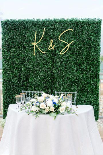 Backdrop & bouquet