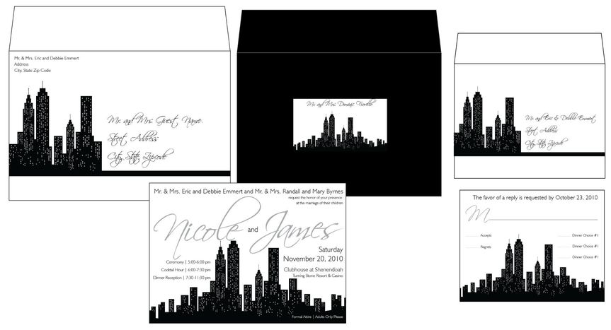 Black and White New York Cityscape Invitation Package with Printed Outer and Response Envelopes and...