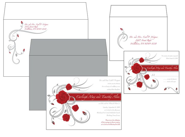 Silver/Grey and Red Roses Invitation Package with Printed Outer and Response Envelopes and Silver...