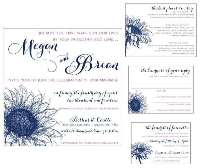 Navy and Fuchsia, Sunflower, Square Pocket Invitation Package, including RSVP, Accommodations and...