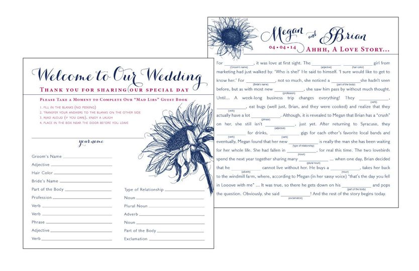 Navy and Fuchsia, Sunflower, Square, Mad Libs, Guest Book