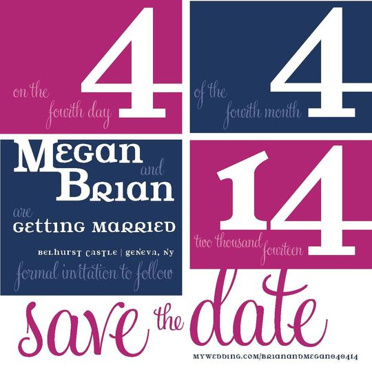 Navy and Fuchsia Square Color-Block Save-the-Date