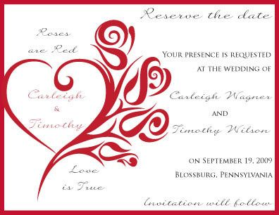 Red Rose Save-the-Date Card