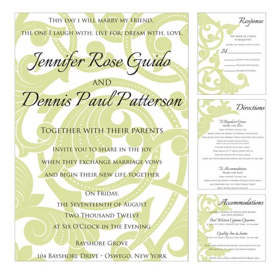 Hydrangea Green and Black, Scroll Background, Pocket Style Wedding Invitation Package
