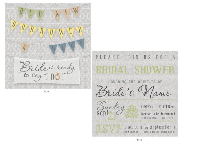 Grey and Sage Green, Shabby Chic, Two-Sided, Pennant Flags, Bridal Shower Invitation