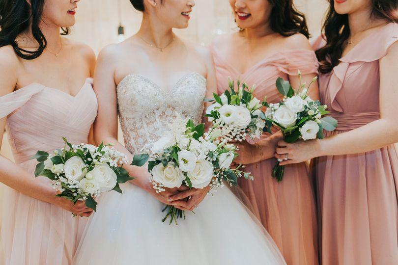 A pretty bride and maids