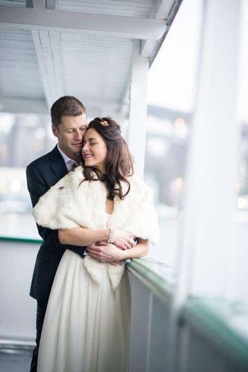 bride and groom seattle wedding on skansonia ferry