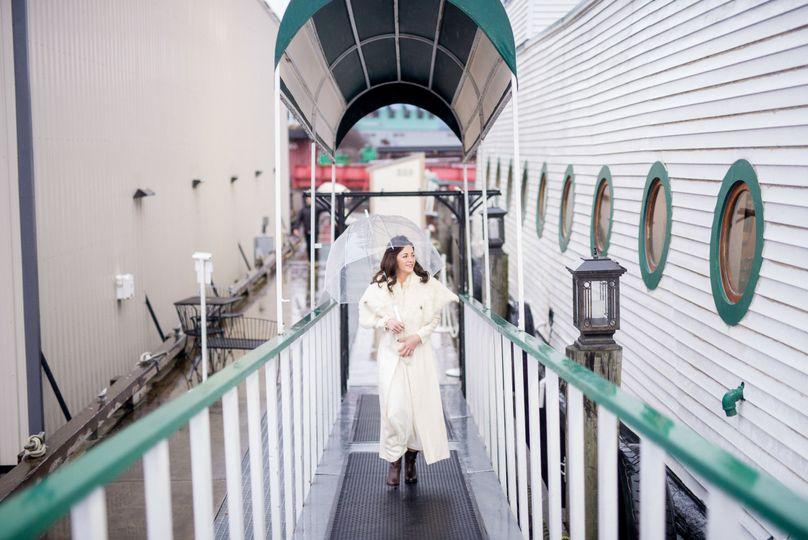 bride walking on skansonia seattle wedding venue