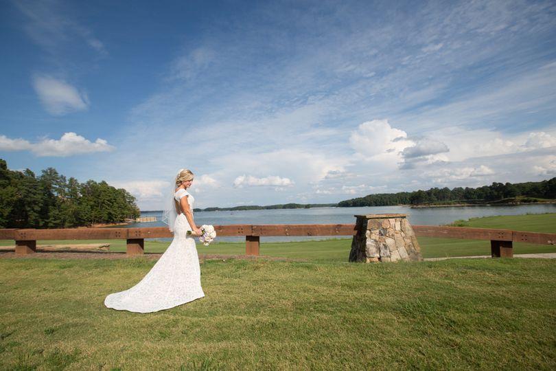 Lakeside bridal portrait