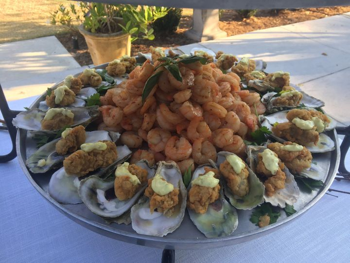 fried oysters on the half shell and Caribbean glazed local shrimp
