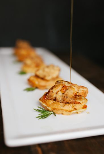 Chicken & Waffle Bites w/ Bourbon Maple Drizzle