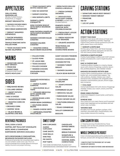 Some examples of our menu