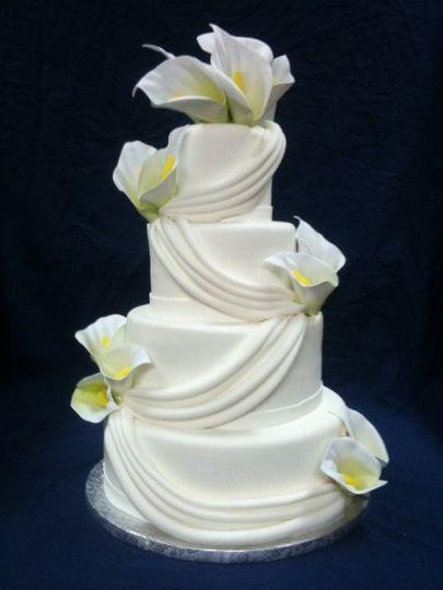 4 tier Calla Lilly Wedding Cake