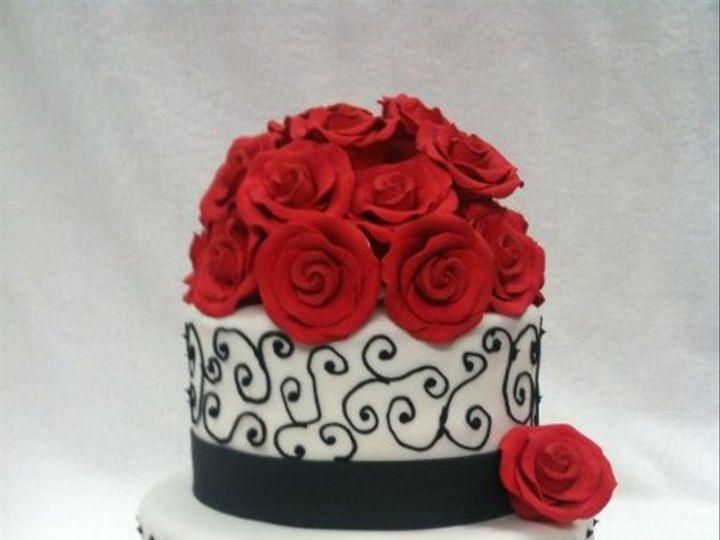 Tmx 1277274559145 Blackandredwedding Meridian wedding cake