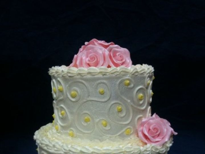 Tmx 1277275606380 Whiteandpinkroses Meridian wedding cake