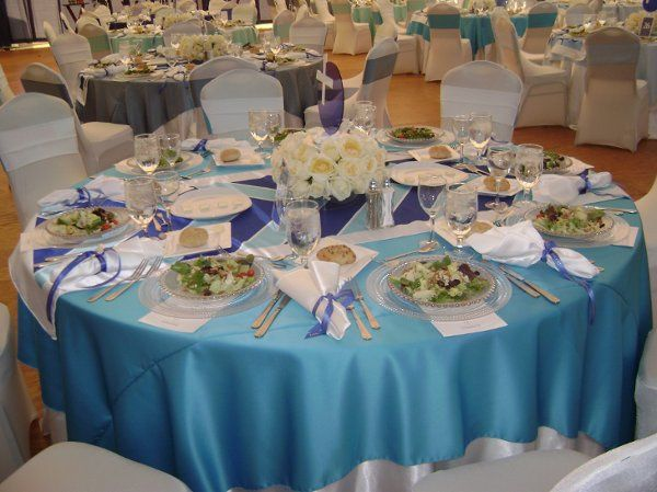 Ocean blue table cloth
