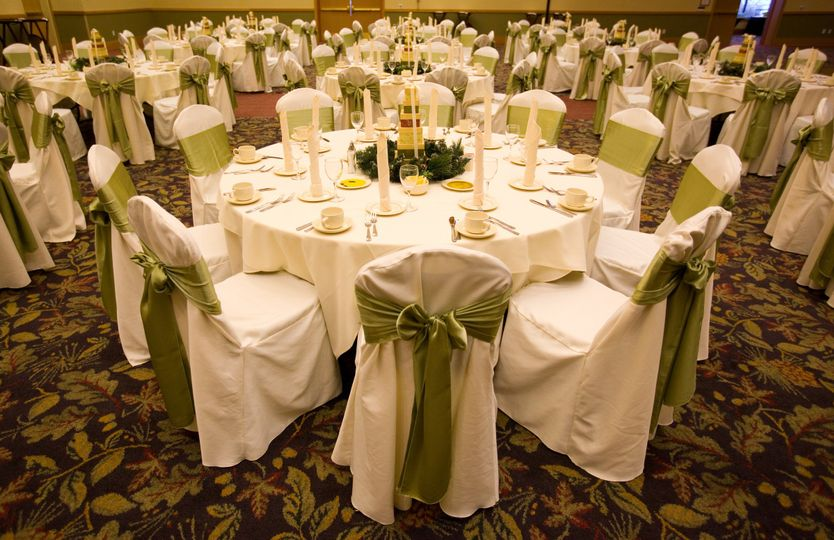 White and green table setting