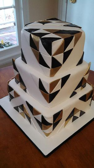 Black and Gold Triangles Wedding Cake / Debedeaux Wedding