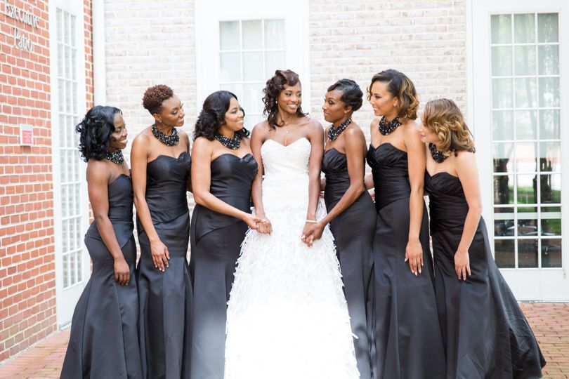 Bridesmaids with their bride