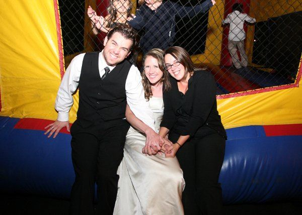 Fun Tent Wedding in Concord, MA  Ceremony in Winchster, MA  Moon Bounce for the young guests