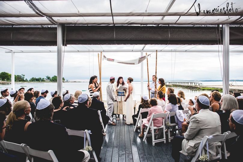 Wedding alongside the ocean