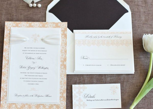 Tmx 1326370659938 PeachRibbonCollection1 Cary wedding invitation