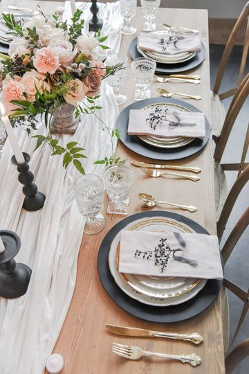 Matte Chargers + Gold Flatware