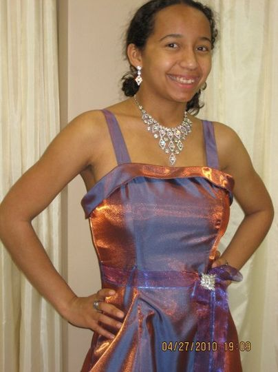 Semi-Custom Prom Dress: Retail gowns to which 1'' straps, a belt, and a broch were added
